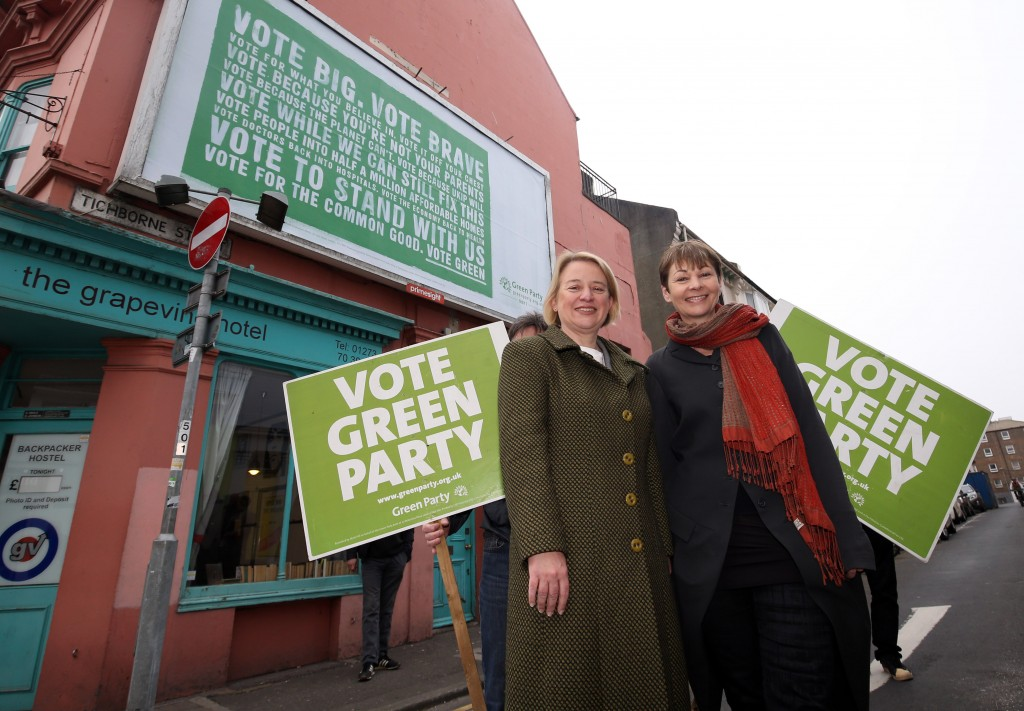 Green Party leader Natalie Bennett (left) with Brighton Pavilion parliamentary candidate Caroline Lucas during the launch of the Green Party billboard campaign in Brighton. ... General Election 2015 campaign - April 13th ... 13-04-2015 ... Brighton ... UK ... Photo credit should read: Steve Parsons/Unique Reference No. 22712046 ... Picture date: Monday April 13, 2015. See PA story ELECTION Greens. Photo credit should read: Steve Parsons/PA Wire